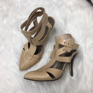 Free People Nude Strappy Heel Size 8